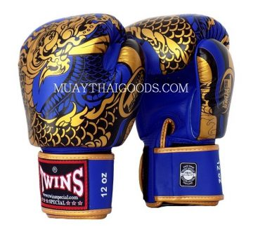 FBGV52 TWINS SPECIAL BOXING GLOVES DRAGON BLUE GOLD