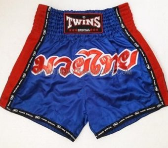 TWINS SPECIAL MUAY THAI ARMY STYLE BOXING SHORTS BLUE RED