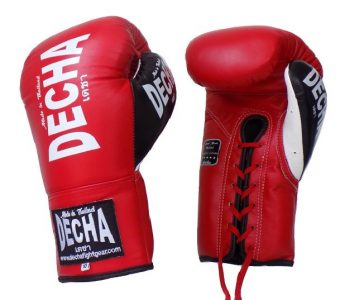 "DECHA LEATHER LACE UP MUAY THAI BOXING GLOVES RED/ BLACK WHITE DBGLL2 "" PRO PERFORMANCE """