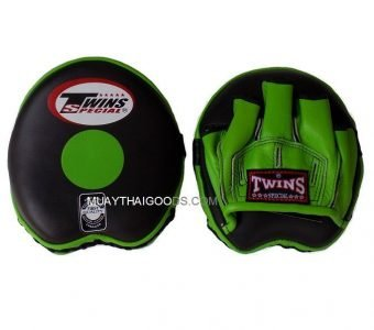 TWINS SPECIAL PML13 APPLE FOCUS MITTS LEATHER ( PAIR ) BLACK/GREEN SPEED TRAINING