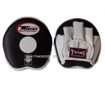 TWINS SPECIAL PML13 APPLE FOCUS MITTS LEATHER ( PAIR ) BLACK/WHITE SPEED TRAINING