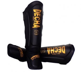 """DECHA SHIN GUARDS DSG1 DOUBLE PADDED SIDE REINFORCEMENT """" FULL PROTECTION """" IMPROVED PADDING PRO PERFORMANCE BLACK GOLD"""