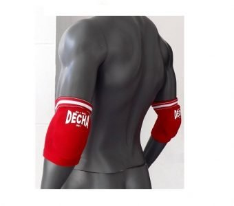 DECHA MUAY THAI K1 ELASTIC ELBOW GUARDS PROTECTION FREE SIZE RED DEG1