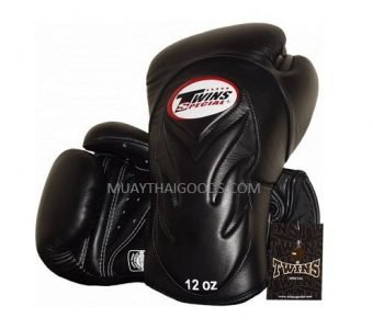 BGVL6 TWINS SPECIAL BLACK MUAY THAI KICK BOXING GLOVES