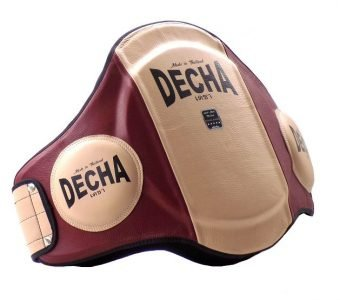 "DECHA MUAY THAI LEATHER BELLY PADS "" PRO PERFORMANCE"" EXTRA PADDED "" 42 cm Height"" / Thick 9 cm CREAM/ BURGUNDY"