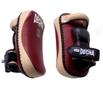 "DECHA PROFESSIONAL SMALL KICKING PADS "" THICK LEATHER"" DKPL12 FOREARM ANTI-SHOCK BURGUNDY/CREAM ( PAIR )"
