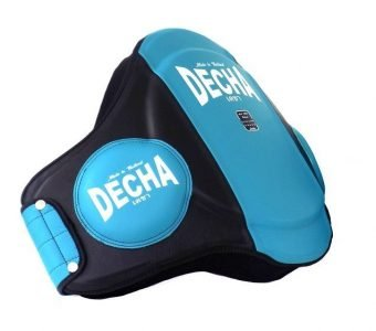 "DECHA MUAY THAI LEATHER BELLY PADS "" PRO PERFORMANCE"" EXTRA PADDED "" 42 cm Height"" / Thick 9 cm LIGHT BLUE / BLACK"
