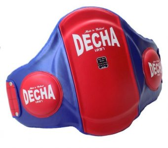 "DECHA MUAY THAI LEATHER BELLY PADS "" PRO PERFORMANCE"" EXTRA PADDED "" 42 cm Height"" / Thick 9 cm RED / BLUE"