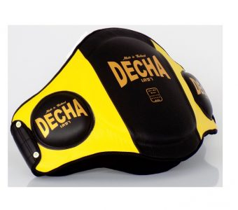 "DECHA MUAY THAI LEATHER BELLY PADS "" PRO PERFORMANCE"" EXTRA PADDED "" BLACK/YELLOW"