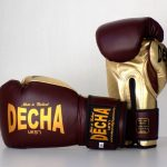 DECHA LEATHER MUAY THAI BOXING GLOVES TIGHT FIT DBGVL1 PRO PERFORMANCE 3.0 VINTAGE STYLE BURGUNDYGOLD