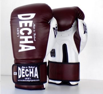 DECHA LEATHER MUAY THAI BOXING GLOVES TIGHT FIT DBGVL1 PRO PERFORMANCE 3.0 VINTAGE STYLE BURGUNDYWHITE