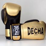 DECHA LEATHER MUAY THAI BOXING GLOVES TIGHT FIT DBGVL1 PRO PERFORMANCE 3.0 VINTAGE STYLE GOLDBLACK