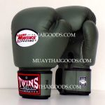 TWINS SPECIAL MUAY THAI KICK BOXING GLOVES BGVL3 ARMY GREEN