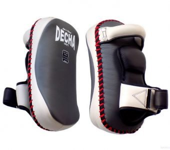 "DECHA PROFESSIONAL SMALL KICKING PADS "" THICK LEATHER"" DKPL12 FOREARM ANTI-SHOCK GRAY / WHITE"