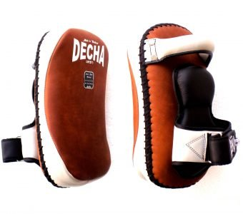 "DECHA PROFESSIONAL SMALL KICKING PADS "" RAW LEATHER"" DKPL12 FOREARM ANTI-SHOCK BROWN / WHITE"