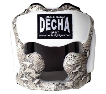DECHA LEATHER MUAY THAI BOXING STYLE HEADGEAR LACES DHGL2 SNAKE PATTERN ( LACE UP )