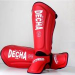 DECHA BLACK MUAY THAI SHIN GUARDS DSG1 RED