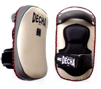 "DECHA PROFESSIONAL SMALL KICKING PADS "" THICK LEATHER"" DKPL12 FOREARM ANTI-SHOCK WHITE / GRAY"