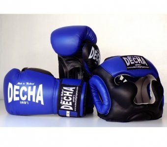 DECHA SET HEADGEAR AND BOXING GLOVES BLUE BLACK