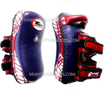 KPL12 LEATHER KICKING PADS FOREARM TRAINING CURVED TWINS SPECIAL NAVI BLUE/ BURGUNDY ( PAIR )