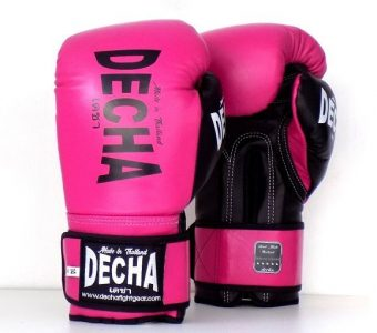 "DECHA LEATHER MUAY THAI BOXING GLOVES  TIGHT FIT DBGVL1 "" PRO PERFORMANCE 3.0 "" PINK/BLACK"