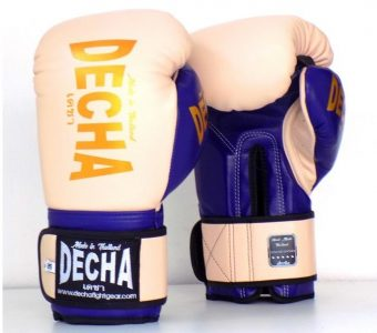 DECHA LEATHER MUAY THAI BOXING GLOVES TIGHT FIT DBGVL1 PRO PERFORMANCE 3.0 SALMON BLUE