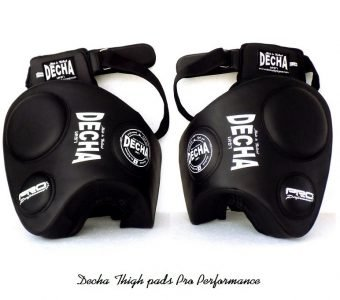 DECHA MUAY THAI BOXING THIGH PADS DTPM3 black ( pair ) PRO PERFORMANCE
