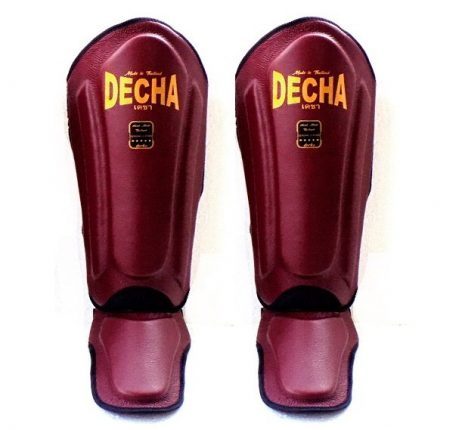 DECHA REAL THICK LEATHER SHINGUARDS burgundy DSGL1 DOUBLE PADDED