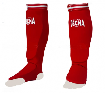DECHA RED ELASTIC SOCKS SHIN GUARDS PADDED FOAM DSGE1