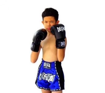 DECHA MUAY THAI BOXING KIDS MUAY THAI KICK BOXING GLOVES BLACK