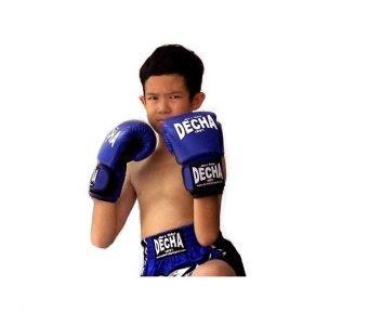 DECHA MUAY THAI BOXING KIDS MUAY THAI KICK BOXING GLOVES BLUE / BLACK
