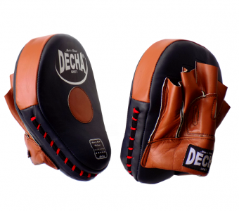 DECHA GENUINE LEATHER MUAY THAI BOXING STYLE FOCUS MITTS NAVY BLUE /  BROWN