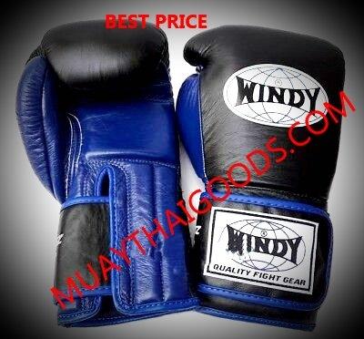WINDY MUAY THAI STYLE BOXING GLOVES BLACK BLUE