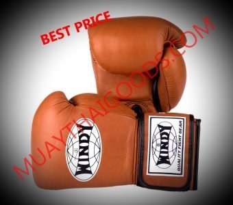 WINDY MUAY THAI STYLE BOXING GLOVES PRO SERIES GBP BROWN GENUINE LEATHER