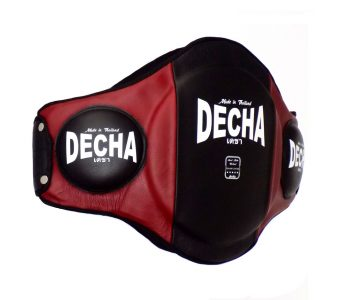 "DECHA MUAY THAI LEATHER BELLY PADS "" PRO PERFORMANCE"" EXTRA PADDED "" BLACK/ BURGUNDY"