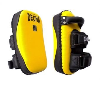 "DECHA PROFESSIONAL MEDIUM KICKING PADS "" THICK LEATHER"" DKPL12 FOREARM ANTI-SHOCK YELLOW/BLACK ( PAIR )"