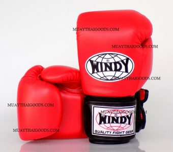 WINDY MUAY THAI STYLE BOXING GLOVES PRO SERIES GBP RED/BLACK GENUINE LEATHER