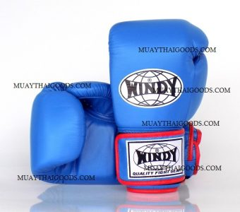 WINDY MUAY THAI STYLE BOXING GLOVES PRO SERIES GBP SKY/RED GENUINE LEATHER