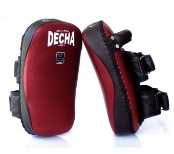 "DECHA PROFESSIONAL MEDIUM KICKING PADS "" THICK LEATHER"" DKPL12 FOREARM ANTI-SHOCK BURGUNDY/BLACK ( PAIR )"