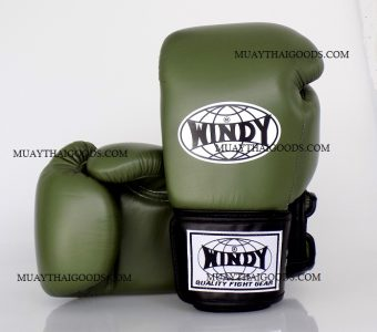 WINDY MUAY THAI STYLE BOXING GLOVES PRO SERIES GBP ARMY GENUINE LEATHER