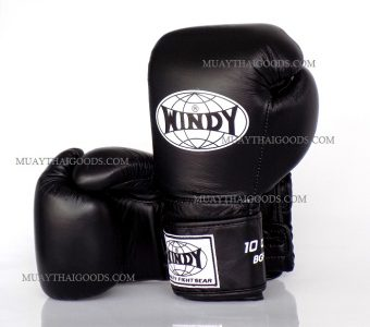 WINDY MUAY THAI STYLE BOXING GLOVES PRO SERIES GBP BLACK GENUINE LEATHER