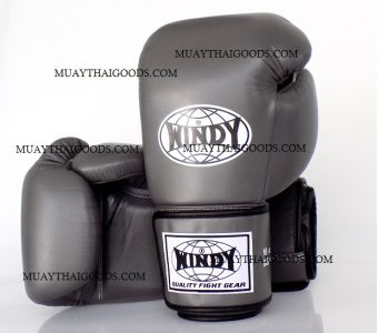 WINDY MUAY THAI STYLE BOXING GLOVES PRO SERIES GBP GRAY GENUINE LEATHER