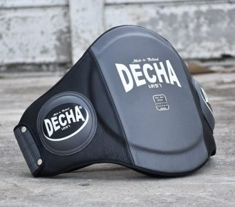 "DECHA MUAY THAI LEATHER BELLY PADS "" PRO PERFORMANCE"" Double PADDED "" GREY/BLACK"