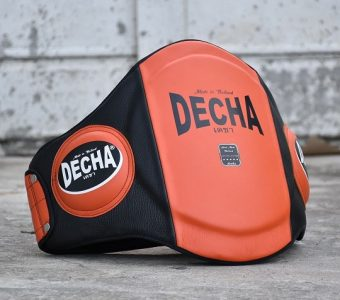 "DECHA MUAY THAI LEATHER BELLY PADS "" PRO PERFORMANCE"" Double PADDED "" ORANGE/BLACK"