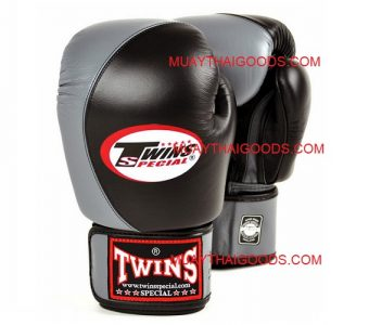BGVL8 TWINS SPECIAL BOXING GLOVES BLACK GREY TWO TONE