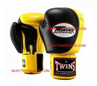 BGVL8 TWINS SPECIAL BOXING GLOVES BLACK YELLOW TWO TONE